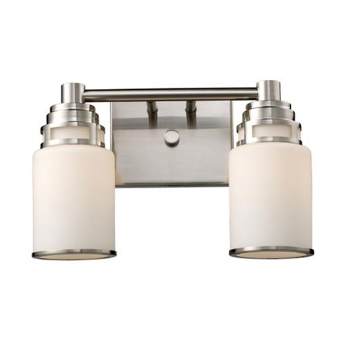 ELK Lighting 11265/2 Bryant 2-Light Vanity Lamp in Satin Nickel with Opal White Glass