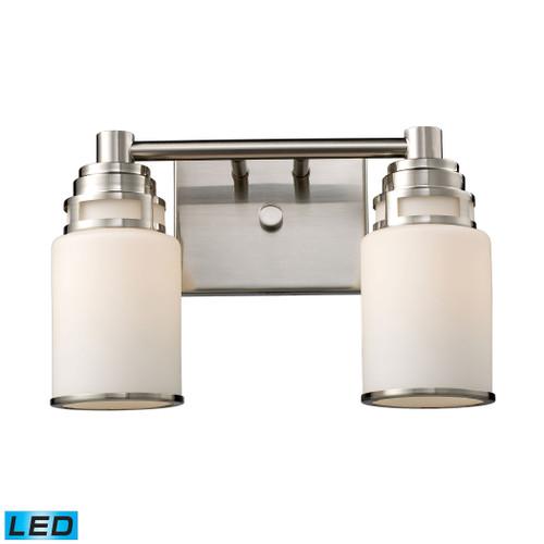 ELK Lighting 11265/2-LED Bryant 2-Light Vanity Lamp in Satin Nickel with Opal White Glass - Includes LED Bulbs