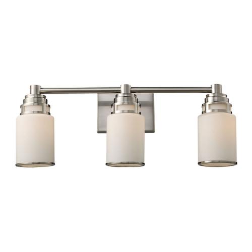 ELK Lighting 11266/3 Bryant 3-Light Vanity Lamp in Satin Nickel with Opal White Glass