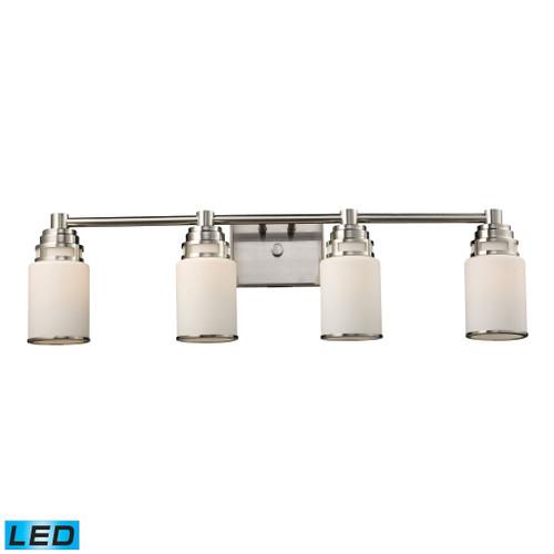 ELK Lighting 11267/4-LED Bryant 4-Light Vanity Lamp in Satin Nickel with Opal White Glass - Includes LED Bulbs