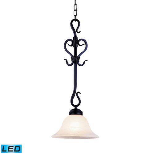 ELK Lighting 251-BK-LED Buckingham 1-Light Mini Pendant in Matte Black with White Faux-Marble Glass - Includes LED Bulb