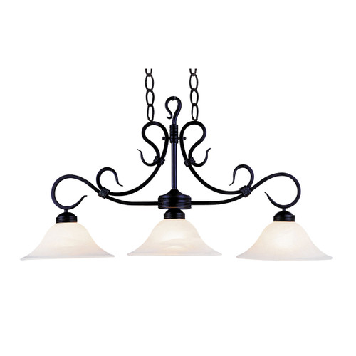 ELK Lighting 247-BK Buckingham 3-Light Island Light in Matte Black with White Faux-Marble Glass