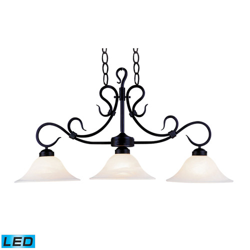 ELK Lighting 247-BK-LED Buckingham 3-Light Island Light in Matte Black with White Faux-Marble Glass - Includes LED Bulbs
