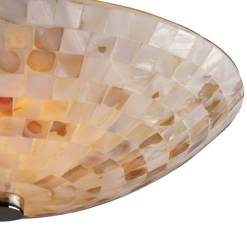 ELK Lighting 10140/2 Capri 2-Light Semi Flush in Satin Nickel with Capiz Shell Glass