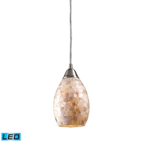 ELK Lighting 10141/1-LED Capri 1-Light Mini Pendant in Satin Nickel with Capiz Shell Glass - Includes LED Bulb