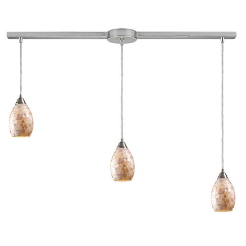 ELK Lighting 10141/3L Capri 3-Light Linear Pendant Fixture in Satin Nickel with Capiz Shell Glass