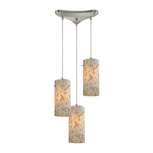 ELK Lighting 10442/3 Capri 3-Light Triangular Pendant Fixture in Satin Nickel with Capiz Shell Glass