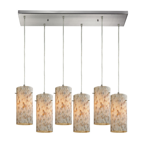 ELK Lighting 10442/6RC Capri 6-Light Rectangular Pendant Fixture in Satin Nickel with Capiz Shell Glass