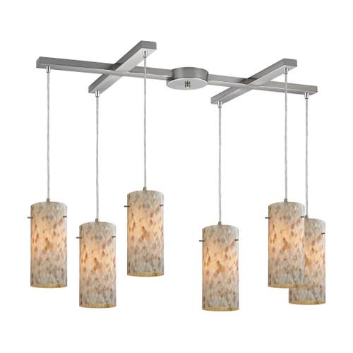 ELK Lighting 10442/6 Capri 6-Light H-Bar Pendant Fixture in Satin Nickel with Capiz Shell Glass
