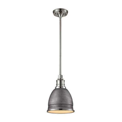 ELK Lighting 66880/1 Carolton 1-Light Mini Pendant in Polished Nickel and Weathered Zinc with Brushed Grey Shade