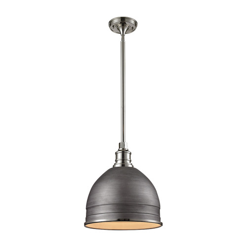 ELK Lighting 66882/1 Carolton 1-Light Pendant in Polished Nickel and Weathered Zinc with Brushed Grey Shade