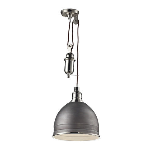ELK Lighting 66883/1 Carolton 1-Light Adjustable Pendant in Polished Nickel and Weathered Zinc with Grey Shade