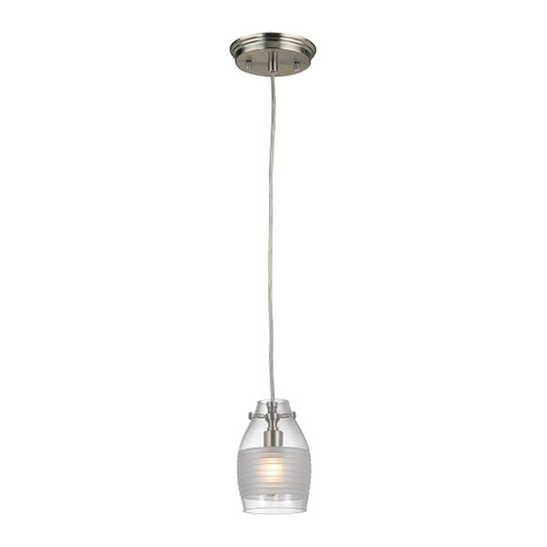 ELK Lighting 46161/1 Carved Glass 1-Light Mini Pendant in Brushed Nickel with Glass Shade