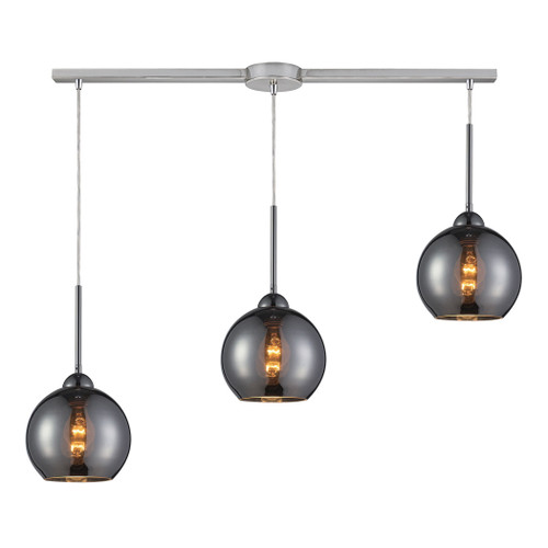 ELK Lighting 10240/3L-CHR Cassandra 3-Light Linear Pendant Fixture in Polished Chrome with Chrome-plated Glass