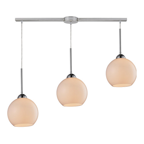 ELK Lighting 10240/3L-WH Cassandra 3-Light Linear Pendant Fixture in Polished Chrome with White Glass