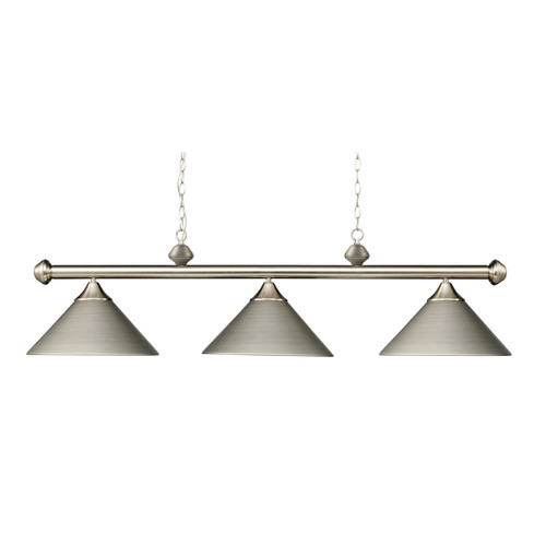 ELK Lighting 168-SN Casual Traditions 3-Light Island Light in Satin Nickel with Metal Shades