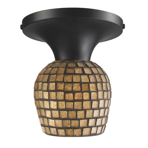 ELK Lighting 10152/1DR-GLD Celina 1-Light Semi Flush in Dark Rust with Gold Mosaic Glass