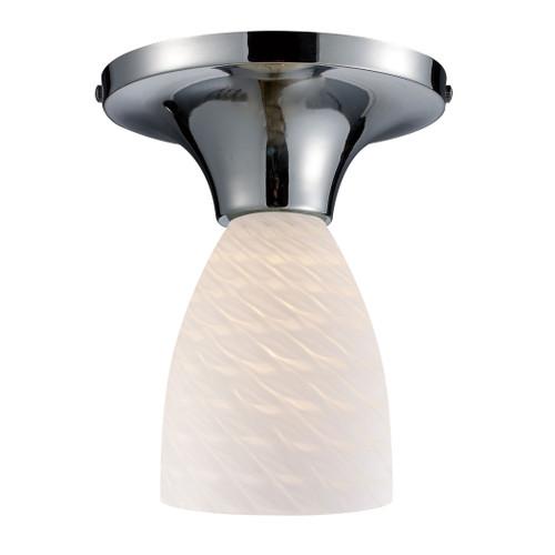 ELK Lighting 10152/1PC-WS Celina 1-Light Semi Flush in Chrome with White Swirl Glass