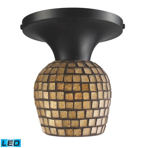 ELK Lighting 10152/1DR-GLD-LED Celina 1-Light Semi Flush in Dark Rust with Gold Mosaic Glass - Includes LED Bulb