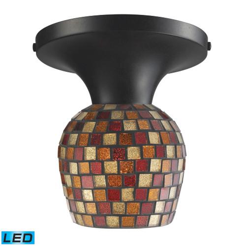 ELK Lighting 10152/1DR-MLT-LED Celina 1-Light Semi Flush in Dark Rust with Multi-colored Mosaic Glass - Includes LED Bulb