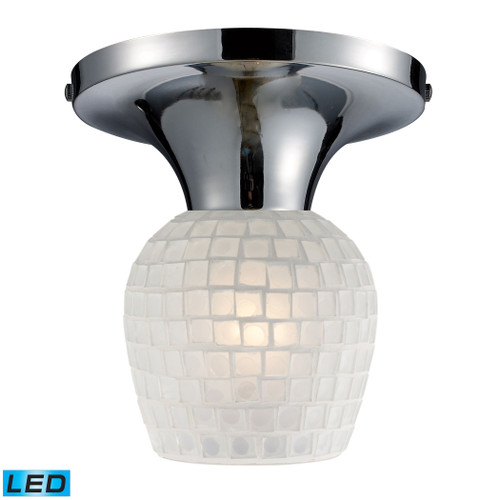 ELK Lighting 10152/1PC-WHT-LED Celina 1-Light Semi Flush in Chrome with White Glass - Includes LED Bulb