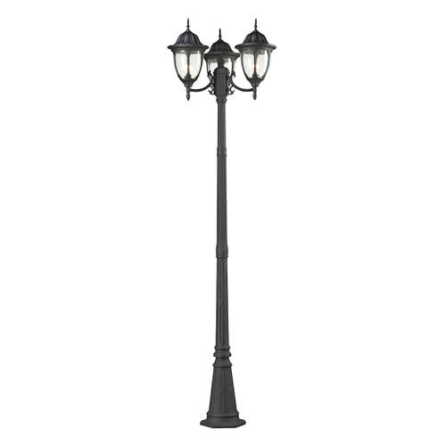 ELK Lighting 45089/3 Central Square 3-Light Outdoor Post Mount in Textured Matte Black