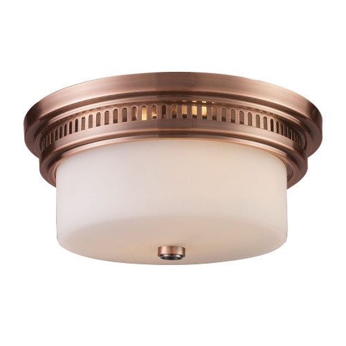 ELK Lighting 66141-2 Chadwick 2-Light Flush Mount in Antique Copper with White Glass