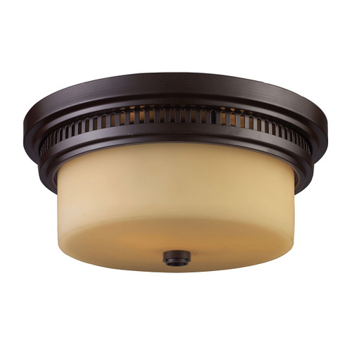 ELK Lighting 66131-2 Chadwick 2-Light Flush Mount in Oiled Bronze with Off-white Glass