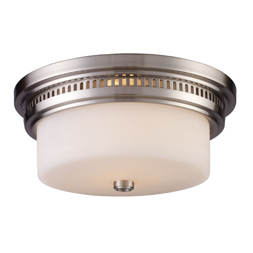 ELK Lighting 66121-2 Chadwick 2-Light Flush Mount in Satin Nickel with White Glass