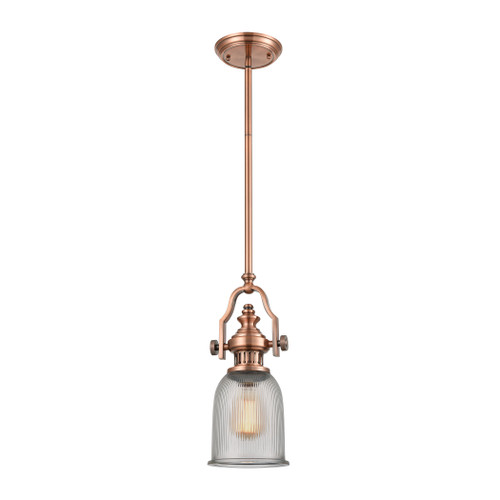 ELK Lighting 66751-1 Chadwick 1-Light Mini Pendant in Antique Copper with Clear Ribbed Glass