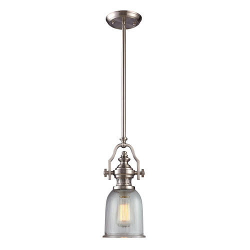 ELK Lighting 66771-1 Chadwick 1-Light Mini Pendant in Satin Nickel with Clear Ribbed Glass