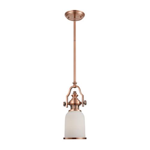 ELK Lighting 66142-1 Chadwick 1-Light Mini Pendant in Antique Copper with White Glass