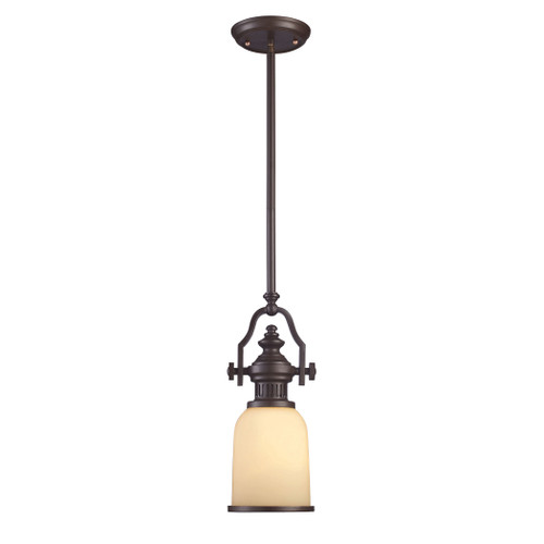 ELK Lighting 66132-1 Chadwick 1-Light Mini Pendant in Oiled Bronze with Off-white Glass