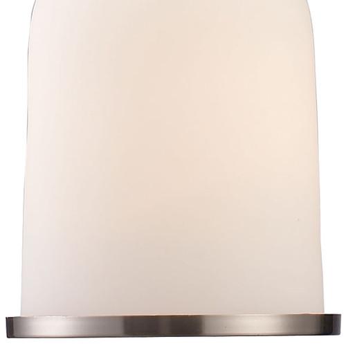 ELK Lighting 66122-1 Chadwick 1-Light Mini Pendant in Satin Nickel with White Glass