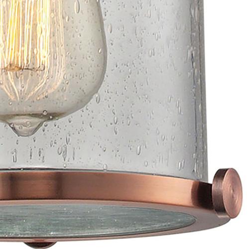 ELK Lighting 67712-1 Chadwick 1-Light Mini Pendant in Copper with Seedy Glass