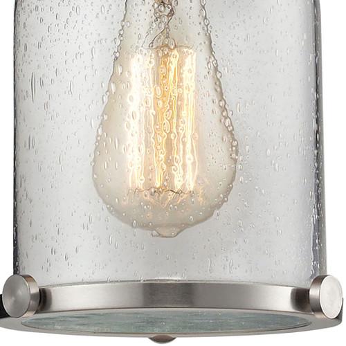 ELK Lighting 67742-1 Chadwick 1-Light Mini Pendant in Satin Nickel with Seedy Glass
