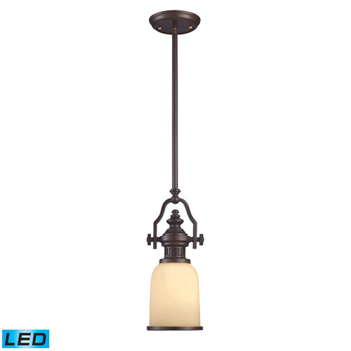 ELK Lighting 66132-1-LED Chadwick 1-Light Mini Pendant in Oiled Bronze with Off-white Glass - Includes LED Bulb