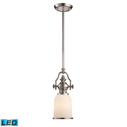 ELK Lighting 66112-1-LED Chadwick 1-Light Mini Pendant in Polished Nickel with White Glass - Includes LED Bulb