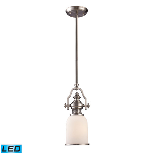 ELK Lighting 66122-1-LED Chadwick 1-Light Mini Pendant in Satin Nickel with White Glass - Includes LED Bulb