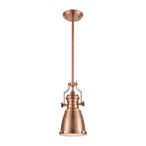 ELK Lighting 66149-1 Chadwick 1-Light Mini Pendant in Antique Copper with Matching Shade