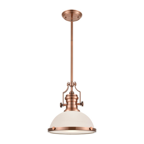 ELK Lighting 66143-1 Chadwick 1-Light Pendant in Antique Copper with White Glass