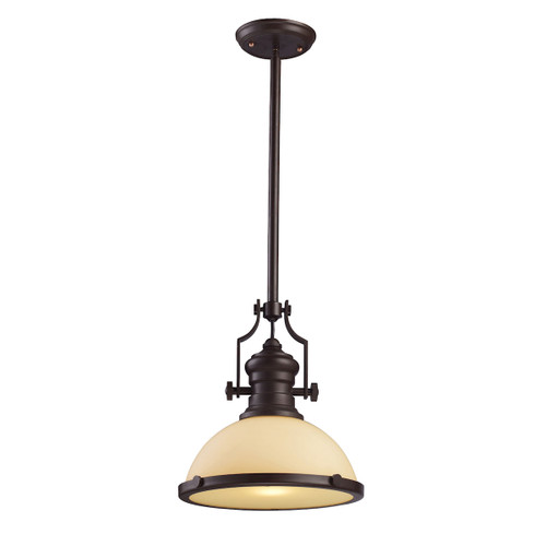 ELK Lighting 66133-1 Chadwick 1-Light Pendant in Oiled Bronze with Off-white Glass