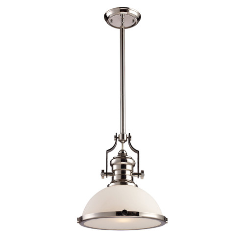 ELK Lighting 66113-1 Chadwick 1-Light Pendant in Polished Nickel with White Glass