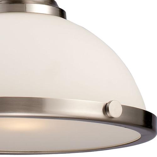 ELK Lighting 66123-1 Chadwick 1-Light Pendant in Satin Nickel with White Glass