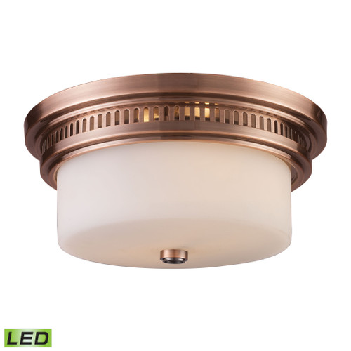 ELK Lighting 66141-2-LED Chadwick 2-Light Flush Mount in Antique Copper with White Glass - Includes LED Bulbs