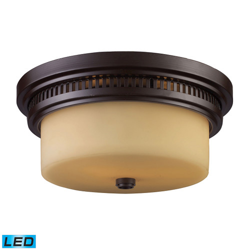 ELK Lighting 66131-2-LED Chadwick 2-Light Flush Mount in Oiled Bronze with Off-white Glass - Includes LED Bulbs