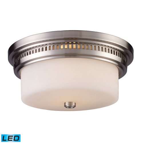 ELK Lighting 66121-2-LED Chadwick 2-Light Flush Mount in Satin Nickel with White Glass - Includes LED Bulbs