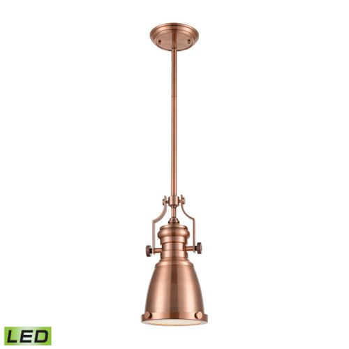 ELK Lighting 66149-1-LED Chadwick 1-Light Mini Pendant in Antique Copper with Matching Shade - Includes LED Bulb