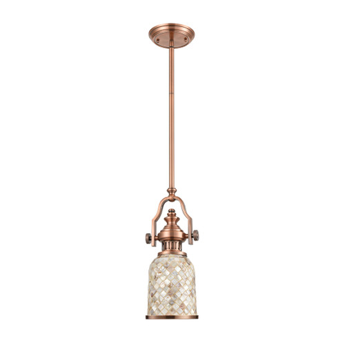 ELK Lighting 66442-1 Chadwick 1-Light Mini Pendant in Antique Copper with Cappa Shell Shade