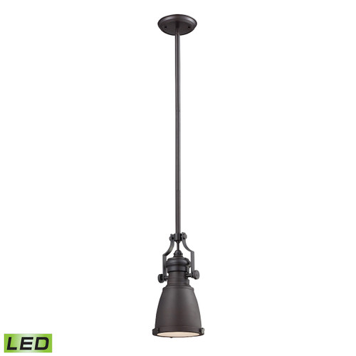 ELK Lighting 66139-1-LED Chadwick 1-Light Mini Pendant in Oiled Bronze with Matching Shade - Includes LED Bulb